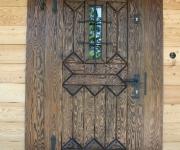 sosnowe drzwi zewnętrzne rustykalne